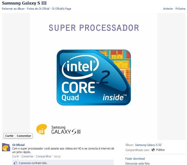 Erro da Oi ao anunciar um processador Intel