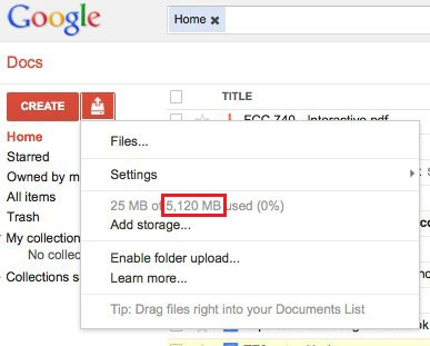 Google Docs 5 GB