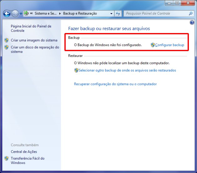 Janela de backup do Windows