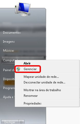 Gerenciar no Menu Iniciar do Windows 7
