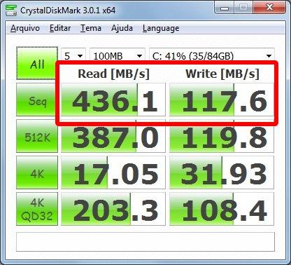 Teste com um bloco de 100 MB - CrystalDiskMark