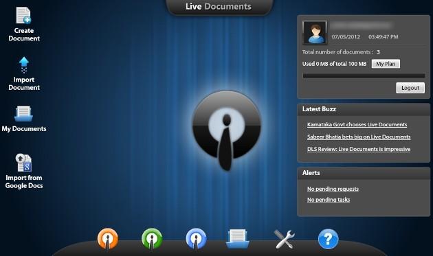 Área de trabalho do Live Documents