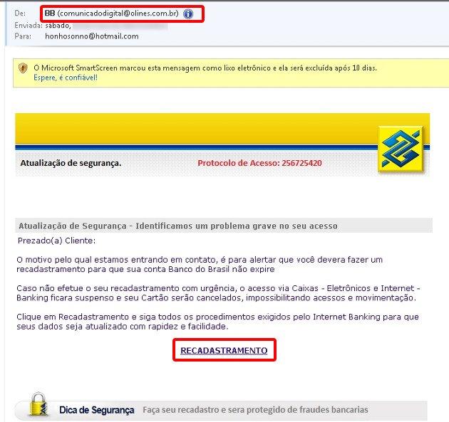 Exemplo de Phishing Scam