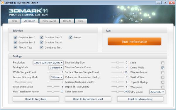 3DMark11 - Configurações do modo Performance