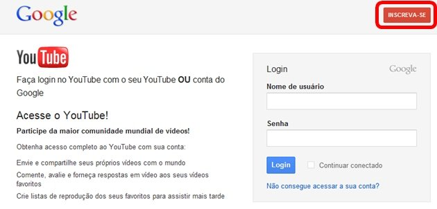 Tela inicial do gmail
