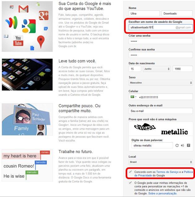 Formulário de cadastro do Google