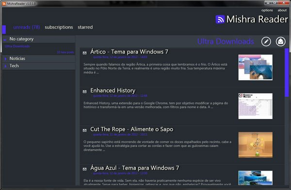 Ultra Downloads no Mishra Reader RSS