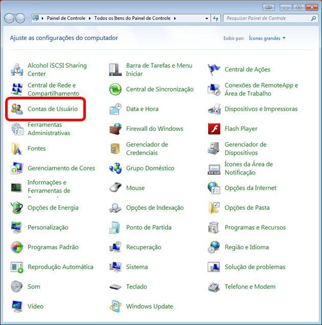 Painel de Controle Windows 7