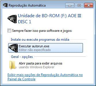 Reprodução automática do CD do Age of Empires III
