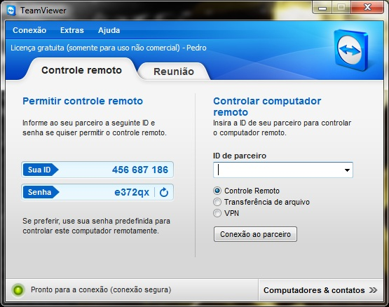 Tela inicial do Teamviewer