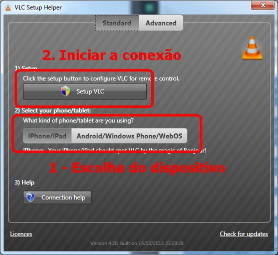 Tela inicial do VLC Setup