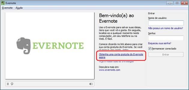 Tela de boas vindas do Evernote