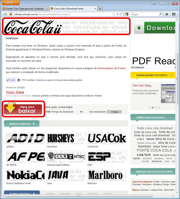 Página de download da fonte Coca-cola II