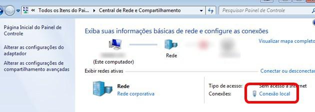 Central de Rede e Compartilhamento