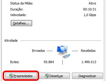 Staus de Rede Windows 7