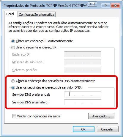 Troca de endereços IPv4