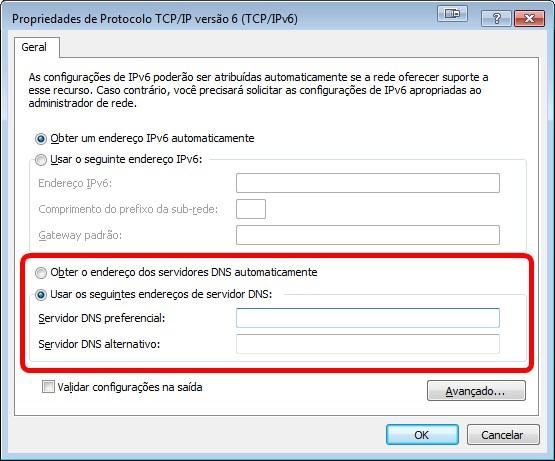 Alteração de DNS no IPv6