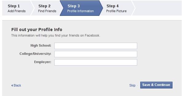 Passo 3 de criação de perfil do Facebook