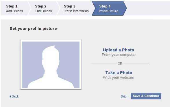 Passo 4 de criação de perfil do Facebook