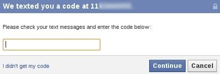 Confirmação do código de segurança enviado pelo Facebook