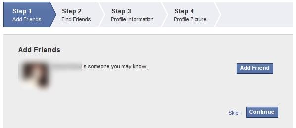 Passo 1 de criação de perfil do Facebook